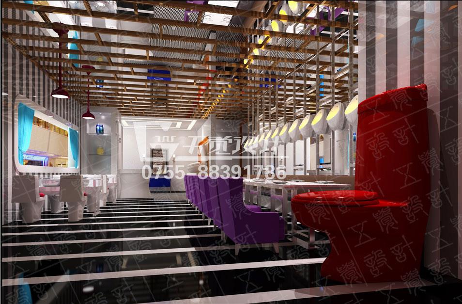 唐山便所欢乐餐厅 巨大的红色马桶